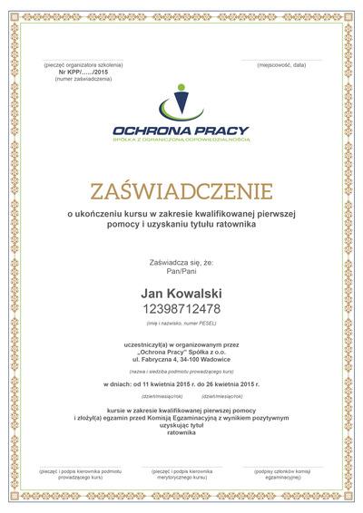 Certyfikat ukończenia kursu KPP